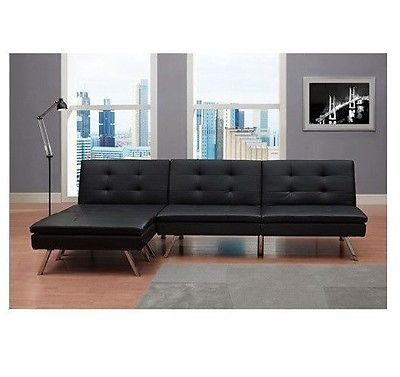 Black Modern Sectional Sofa Futon Convertible Sleeper Bed Couch Chaise Ottoman
